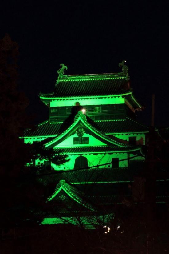 松江城がグリーンに