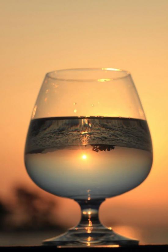 グラスの中の夕景